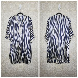 Oscar de la Renta Zebra Print Tunic Dress 1X
